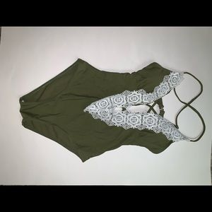 Army Green one piece swimsuit size small NWOT